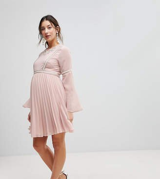 Asos Pleated Skirt Embellished Skater Dress