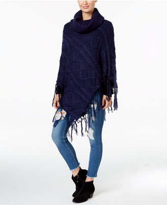 David & Young Diamond Knit Fringe Poncho $60 thestylecure.com