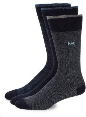 Michael Kors Three-Pack Herringbone Crew Socks