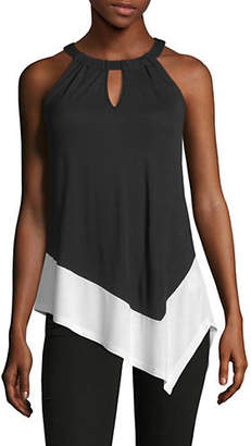 INC International Concepts Two Tone Asymmetric Halter Top