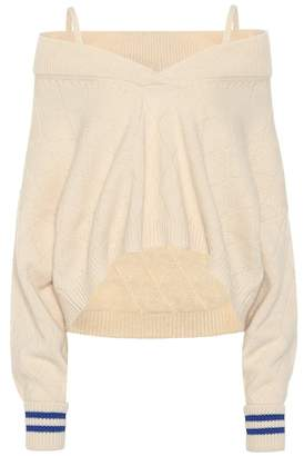 Maison Margiela Wool-blend off-the-shoulder sweater