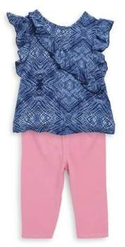 Splendid Baby Girl's Two Piece Ruffle Voile Top& Leggings Set
