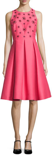 Kate SpadeKate Spade New York Pleated Beaded Taffeta Cocktail Dress, Pink