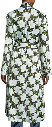 Off-White Off White Floral-Print Pajama Robe Coat