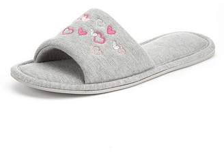 Marks and Spencer Heart Embroidered Open Toe Mule Slippers