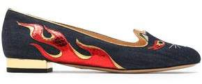Charlotte Olympia Hot Kitty Metallic Snake-Effect Leather-Appliquéd Embroidered Denim Slippers