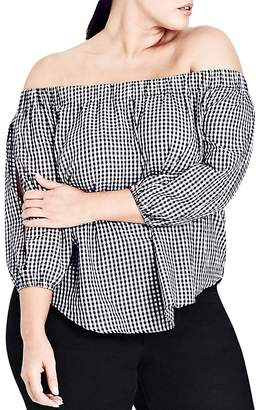 City Chic Gingham Off-the-Shoulder Top