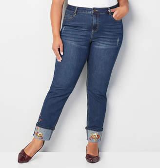 Avenue Embroidered Fray Cuff Straight Jean in Dark Wash