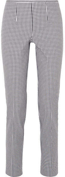 Michael Kors Collection - Gingham Cotton-blend Straight-leg Pants - Black