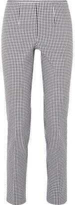 Michael Kors Gingham Cotton-blend Straight-leg Pants - Black