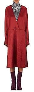 Maison Margiela WOMEN'S WRINKLED WOOL-BLEND SATIN WRAP DRESS-RED SIZE 42 IT