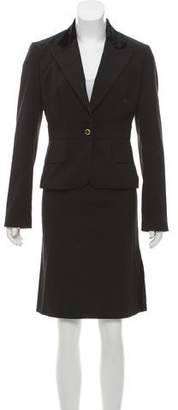 Dolce & Gabbana Velvet-Trimmed Knee-Length Skirt Suit