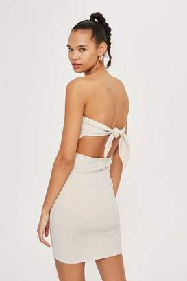 Topshop Tie Back Bandeau Mini Dress