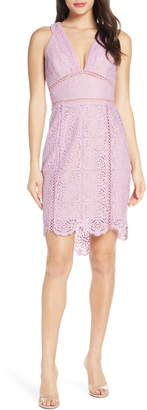 Harlyn Plunge Neck Lace Minidress