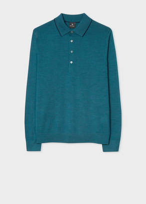 Paul Smith Men's Dark Teal Merino Wool Long-Sleeve Polo Shirt