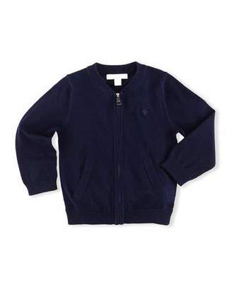 Burberry Jaxson Zip-Front Cotton Cardigan, Navy, Size 6M-3