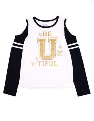 Aeropostale PS FROM Be-U-Tiful Cold Shoulder Graphic Varsity Tee (Big Girls)