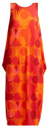 Issey Miyake Sunlight Geometric Print Dress - Womens - Orange