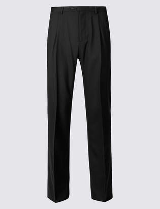M&S CollectionMarks and Spencer Regular Fit Wool Rich Single Pleated Trousers