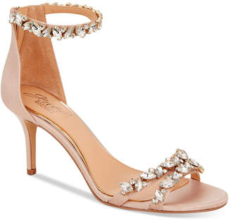 Badgley Mischka Caroline Embellished Ankle-Strap Evening Sandals