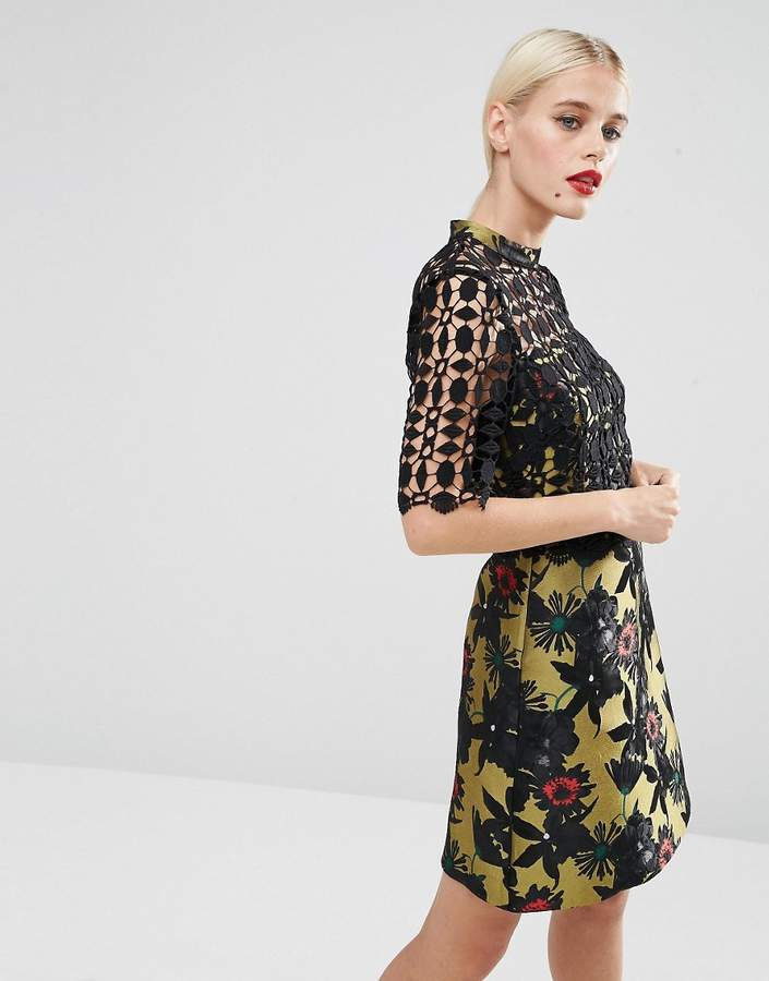 Asos ASOS A-Line Dress with Jacquard & Lace Detail