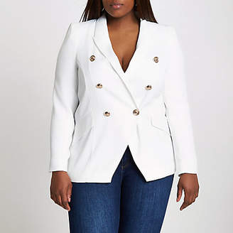 River Island Plus white double breasted blazer