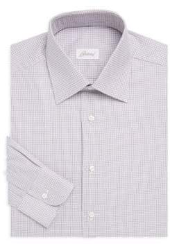 Brioni Regular-Fit Checkered Cotton Dress Shirt