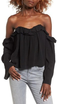 Women's 4Si3Nna Ruffle Off The Shoulder Blouse $55 thestylecure.com