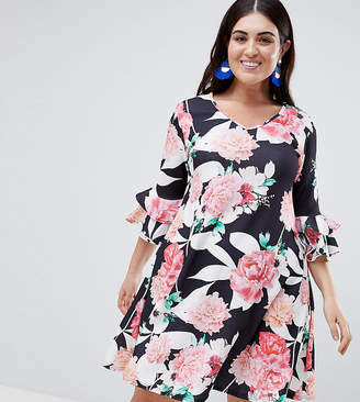 Lovedrobe Floral Swing Dress With Bell Sleeve