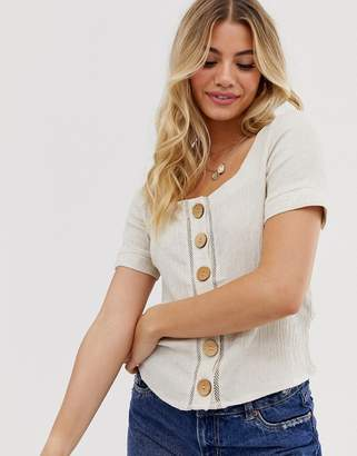Pimkie button front linen crop top in beige