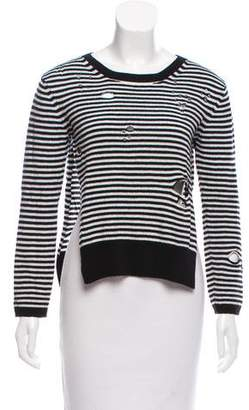 R 13 Distressed Striped Sweater