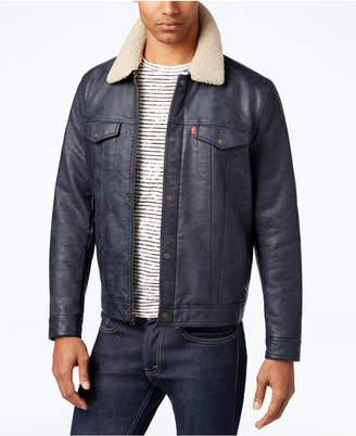 Levi's Men's Faux-Leather Trucker Jacket with Faux-Sherpa Lined Collar