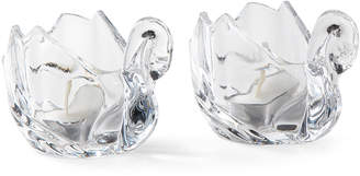 Godinger Shannon By Pair of Crystal Swan Votives