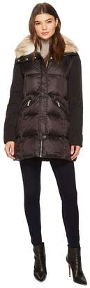 French Connection Puffer with Faux Fur Hood Women's Coat