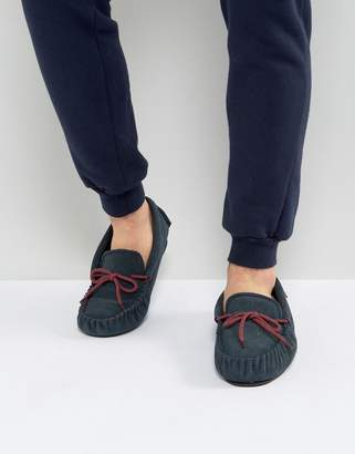 Dunlop Moccasin Slippers In Navy Suede