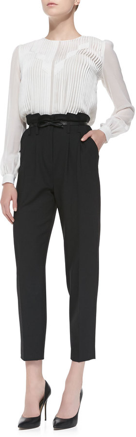 Milly Paperbag Cropped Pleated Trousers