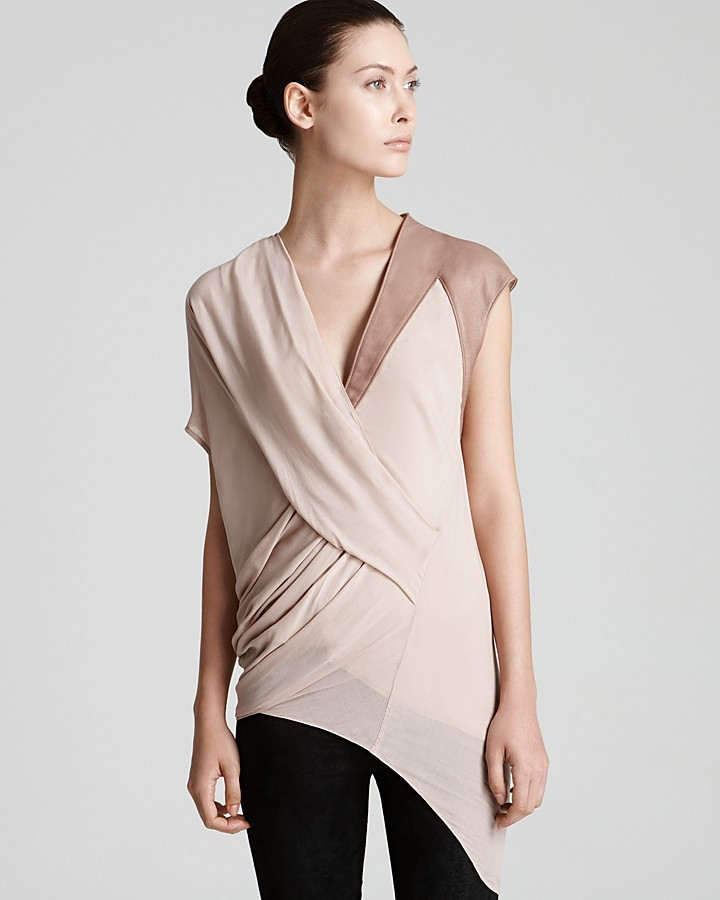 Helmut Lang Top - Lush Voile Draped with Leather Trim