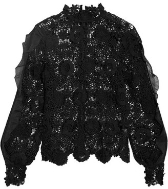 Self-Portrait - Naia Chiffon-trimmed Guipure Lace Blouse - Black $260 thestylecure.com