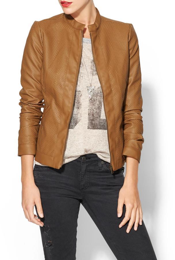 BCBGMAXAZRIA Tinley Road Perforated Vegan Leather Jacket