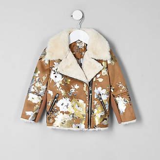 River Island Mini girls Brown floral biker jacket