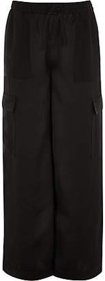 River Island Girls black wide leg cargo trousers