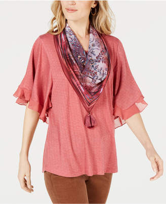 Style&Co. Style & Co Ruffled Scarf Top