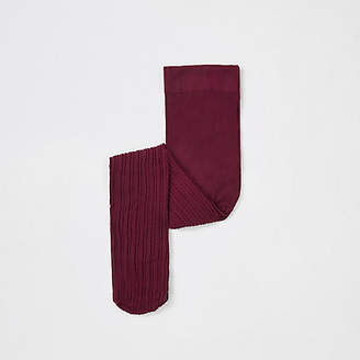 River Island Mini girls dark Red cable knit tights