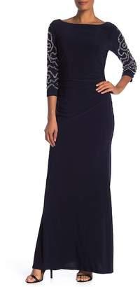 Marina Embellished Bead Long Sleeve Gown