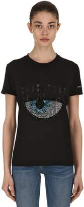 Chiara Ferragni Embellished Eye Cotton Jersey T-Shirt