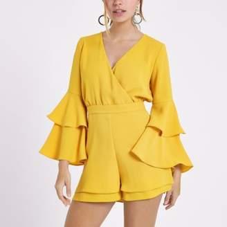 River Island Womens Petite mustard yellow frill sleeve romper