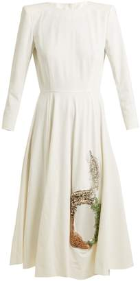 Toga Embellished cut-out stretch-crepe dress