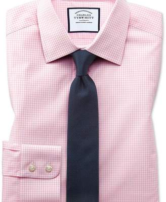 Charles Tyrwhitt Extra slim fit small gingham light pink shirt