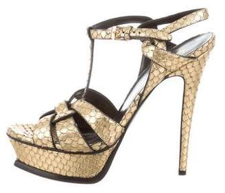 Saint Laurent Snakeskin Platform Tribute Sandals