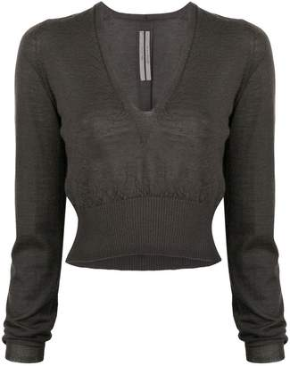 Rick Owens deep V-neck cropped sweater